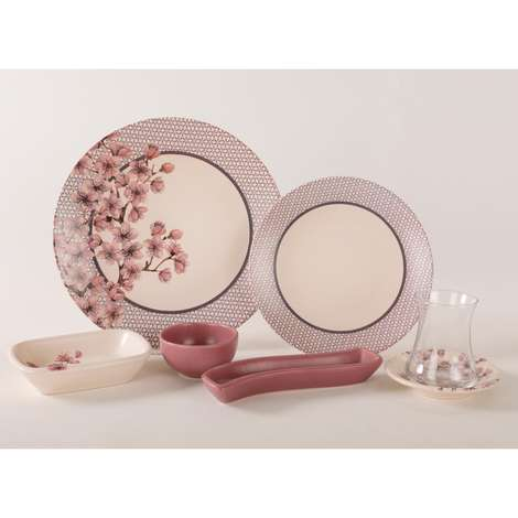 Keramika Kahvaltı Seti 19 Parça - Pembe Çiçekli