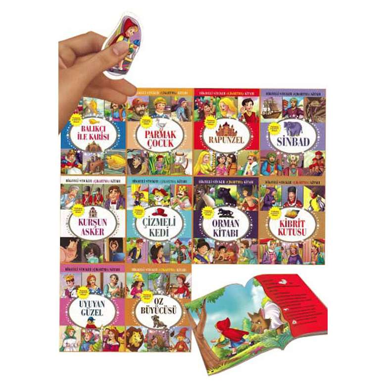 Hikayeli Sticker Çıkartma Kitapları Serisi - 10 Kitap - Set 3
