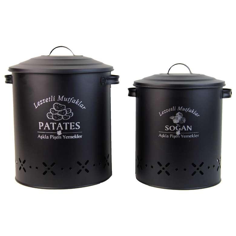 Patates ve Soğan Sepeti 12 L + 6 L - Siyah