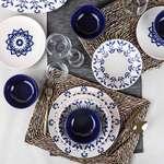 Keramika 6 Kişilik Yemek Takımı 24 Parça- Mavi Motifli