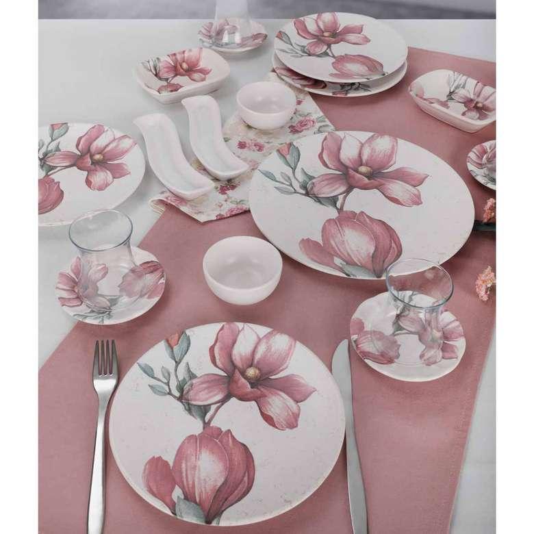 Keramika Pembe Çiçek Kahvaltı Takımı 19 Parça 4 Kişilik - 18874