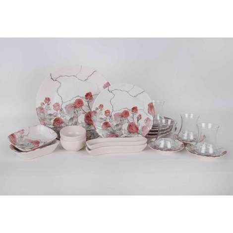 Keramika Kahvaltı Seti 19 Parça - Çiçek