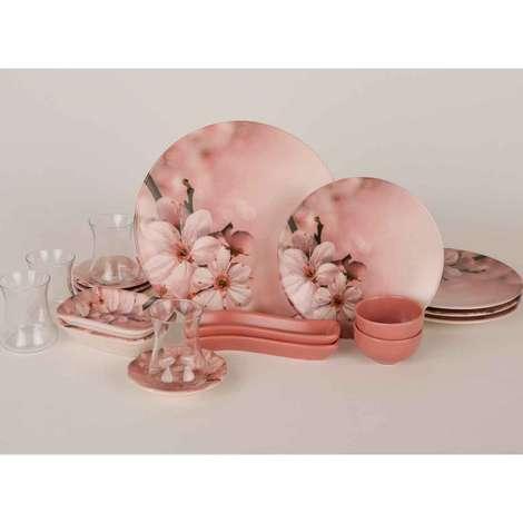 Keramika Kahvaltı Seti 19 Parça - Pembe Çiçek