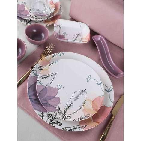 Keramika Kahvaltı Seti 19 Parça - Beyaz Desenli