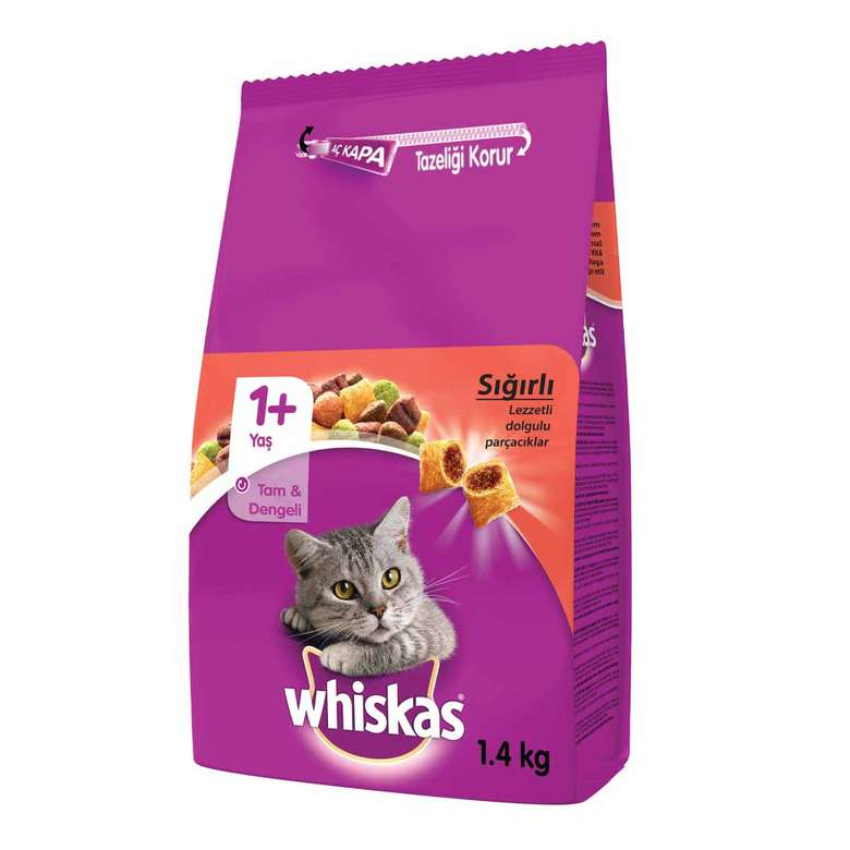 Whiskas Sığır Etli Yetişkin Kuru Kedi Maması 1,4 Kg