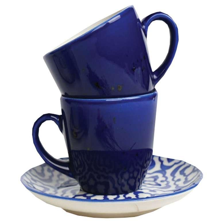 2'li Fincan Takımı Renkli Mavi