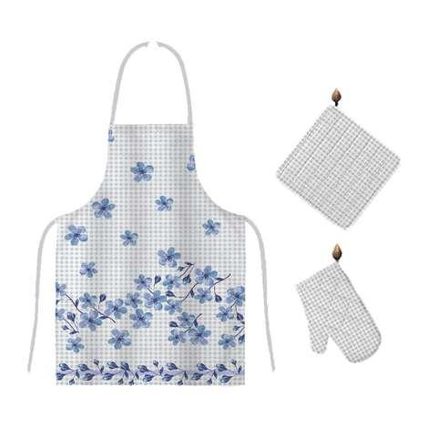 Mutfak Önlük Seti (Önlük&Eldiven&Tutucu) - Mavi