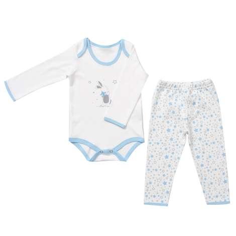Bebek Zıbın Ve Tek Alt Set - Mavi  9 - 12 Ay
