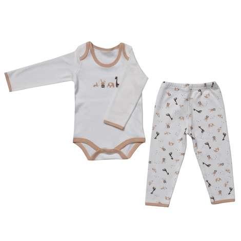 Bebek Zıbın Ve Tek Alt Set -  Kahverengi  0 - 3 Ay