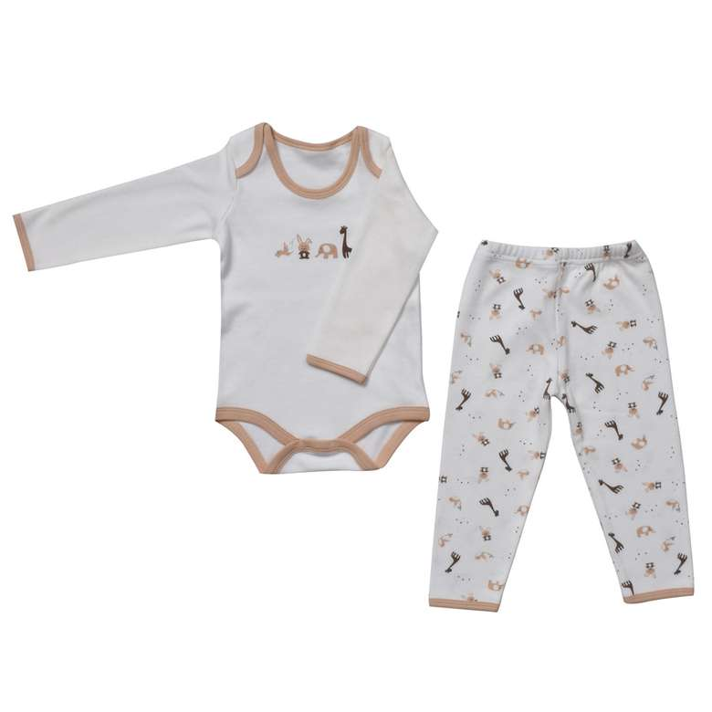 Bebek Zıbın Ve Tek Alt Set - Kahverengi  3 - 6 Ay