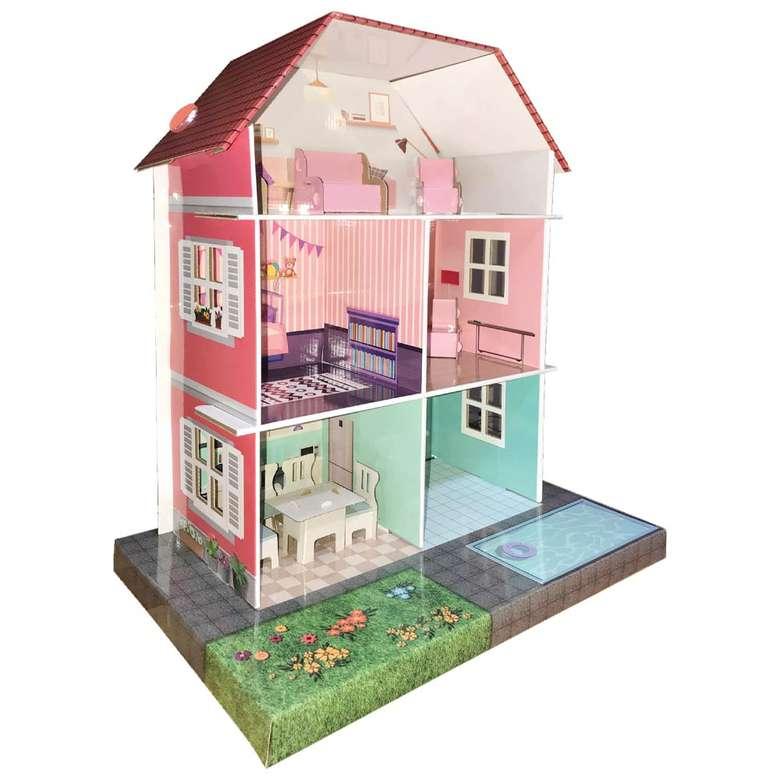 Oyuncak Mobilyalı Karton Oyun Evi