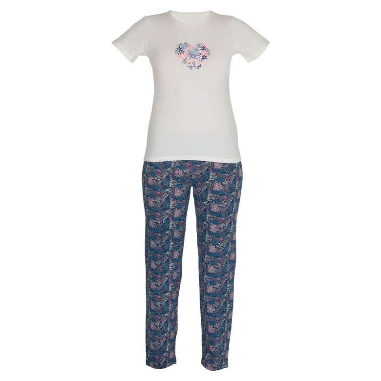 Marie Claire Bayan Kısa Kollu Pijama Takımı - Lacivert, XL