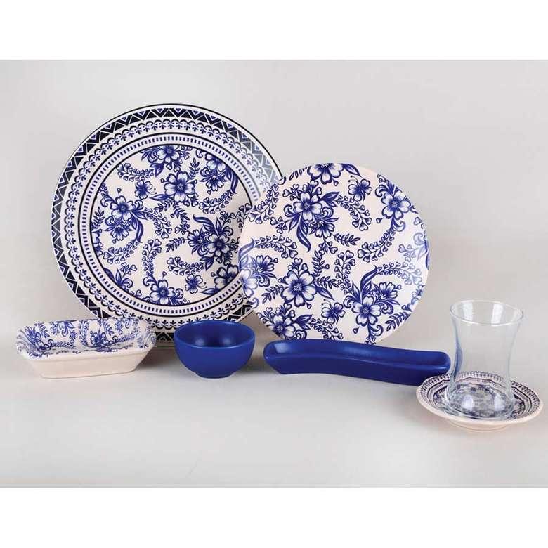 Keramika Gül Desenli 19 Parça Kahvaltı Seti