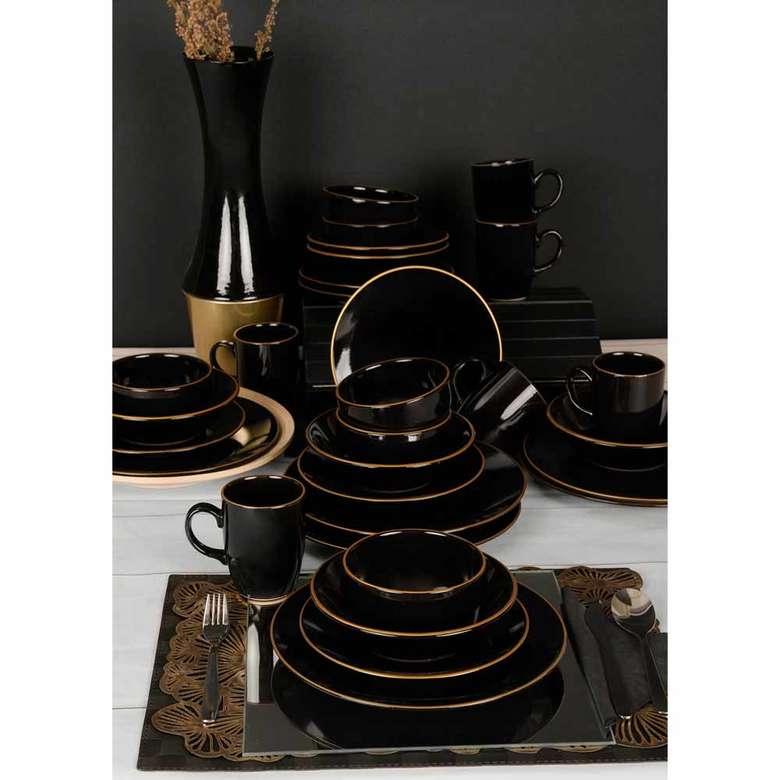 Keramika Ege Siyah Yemek Takımı 30 Parça 6 Kişilik
