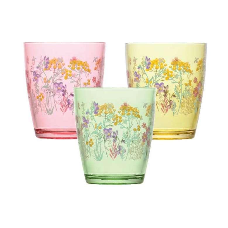 Lav Meşrubat Bardağı 3'lü Çiçek Motifli 3 Parça