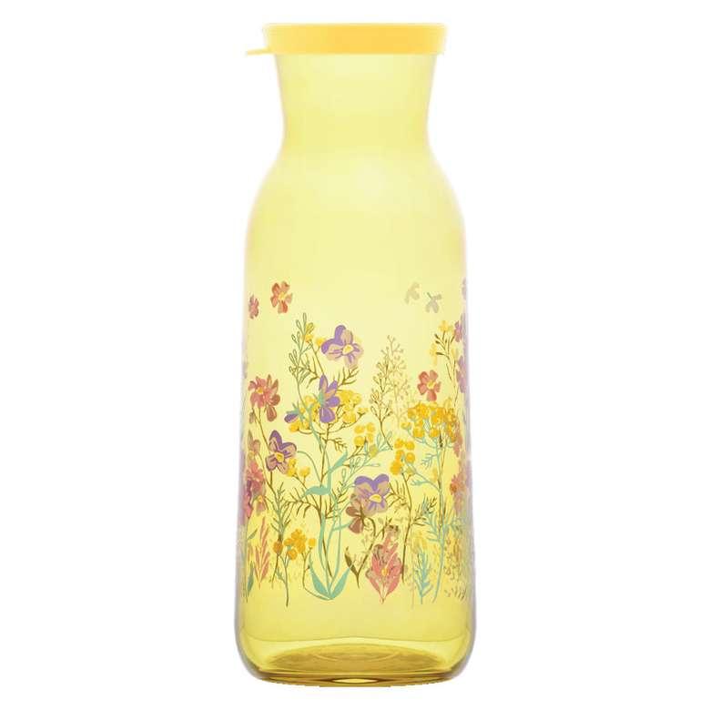 1210 Cc Kapaklı Şişe Çiçek Motifli - Sarı