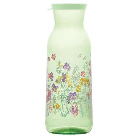 1210 Cc Kapaklı Şişe Çiçek Motifli - Yeşil