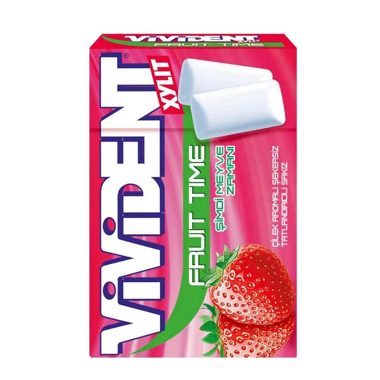 Vivident Fruit Time Sakız  Çilek Aromalı 22 G