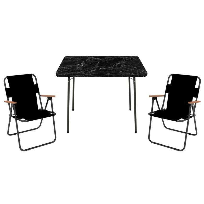 Pratı̇k Sandalye Masa Setı̇ (Mermer Desen)