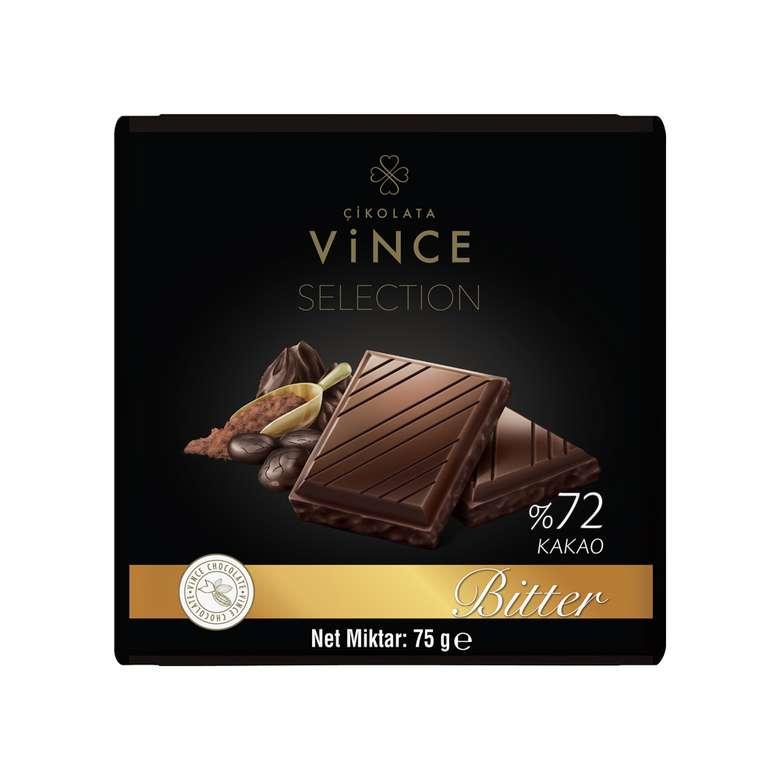 Vince Çikolata Bitter %72 Kakaolu 75 Gr