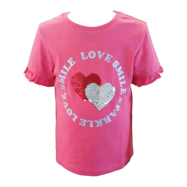 Kız Çocuk Kısa Kollu Payetli Tshirt  Pembe, 5-6 Yaş