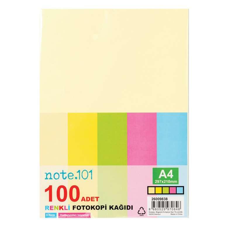 Renkli Fotokopi Kağıdı 100 Yaprak Note101 - Tekli