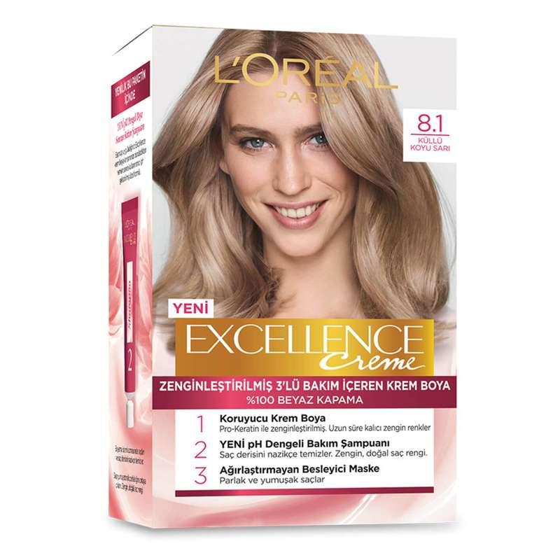 L'oreal Paris Excellence Koyu Sarı Küllü 8.1 Saç Boyası