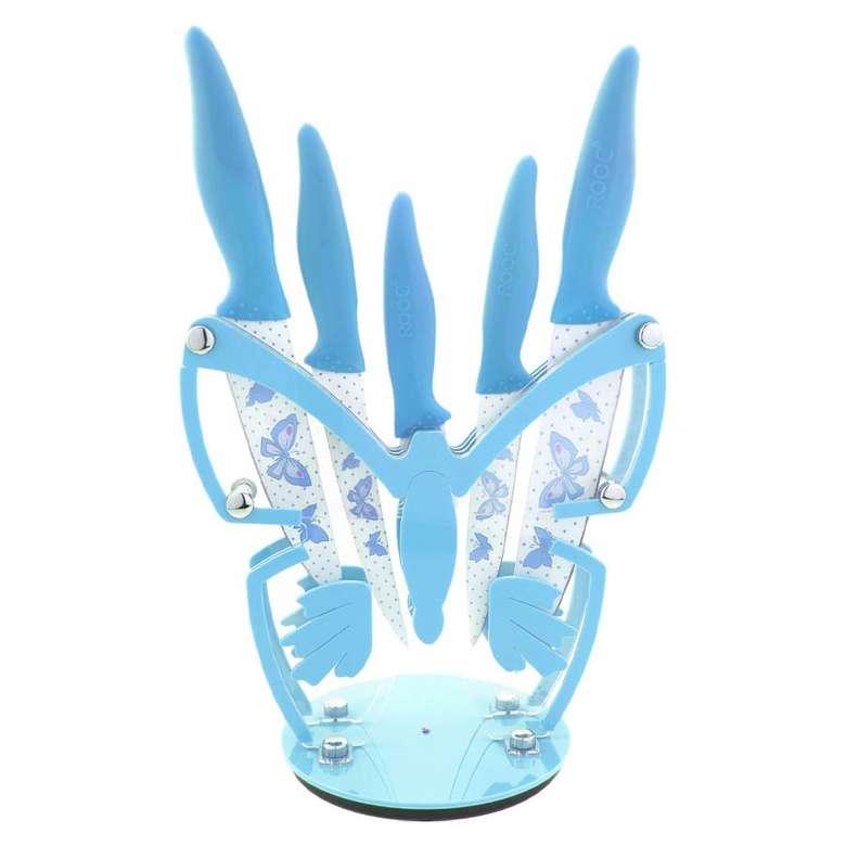 Rooc Renkli Kelebek Mavi Bıçak Seti