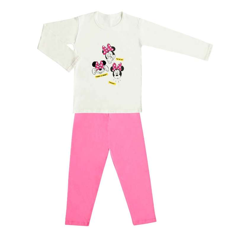 Lisansl Çocuk Uzun Kol Pijama Takımı - Pembe-beyaz, 9-10 Yaş