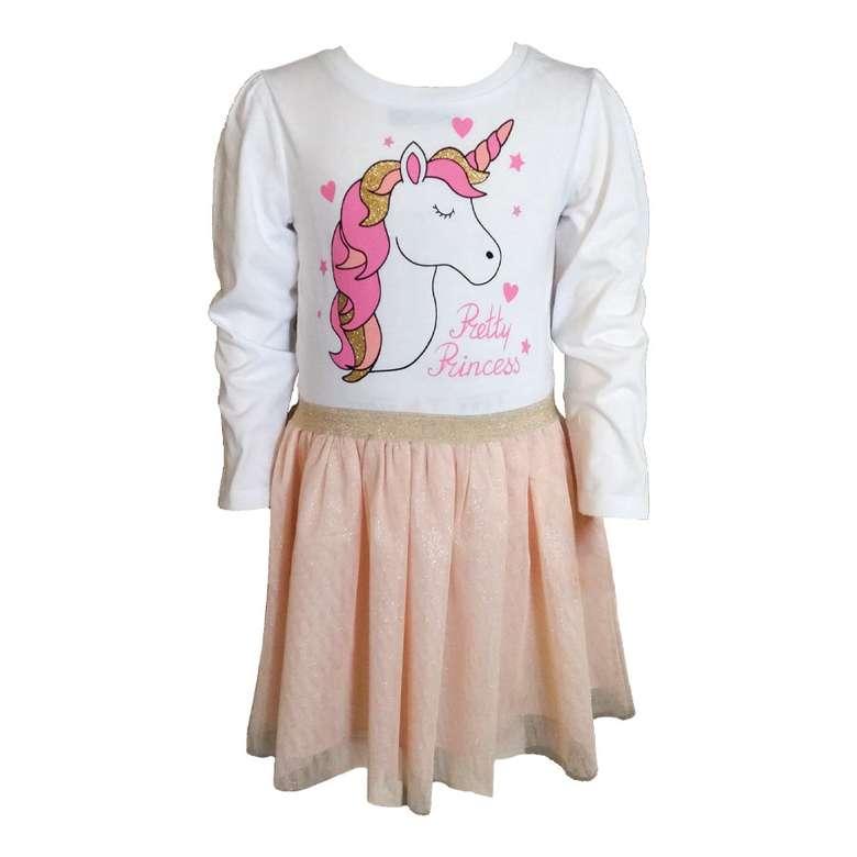 Baskılı Tüllü Kız Çocuk Elbisesi Pudra - Beyaz, 3-4 Yaş