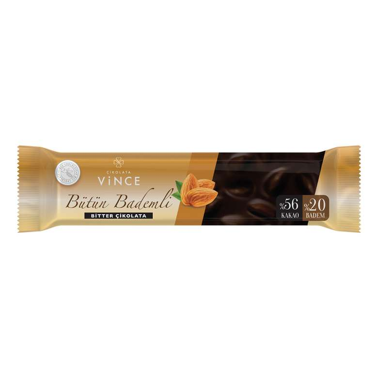 Vince Çikolata Bitter Bütün Bademli 80 G