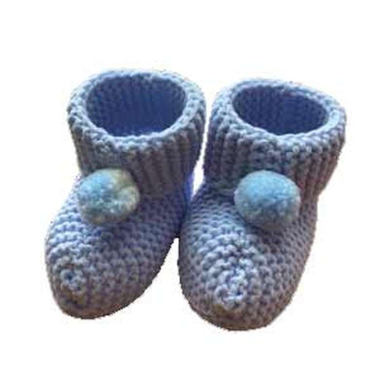 Bebek Örme Patik - Mavi