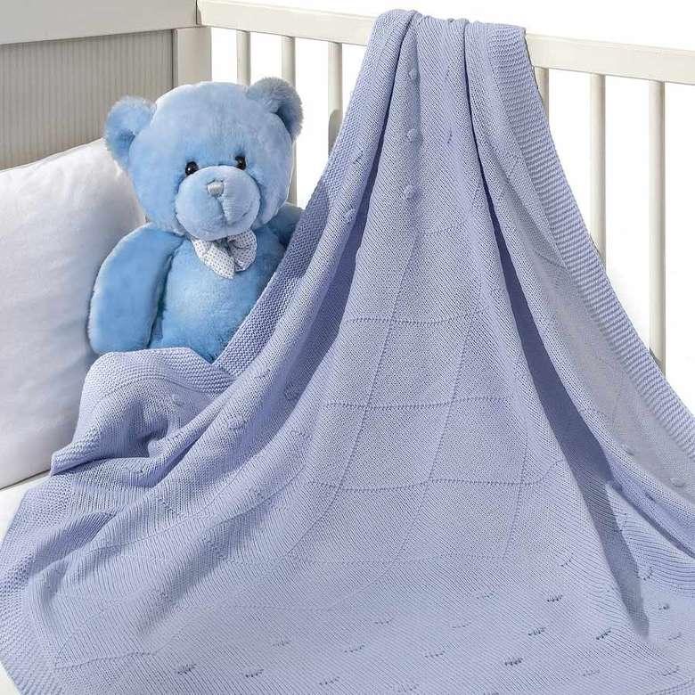 Bebek Triko Battaniye 85x100cm - Mavi