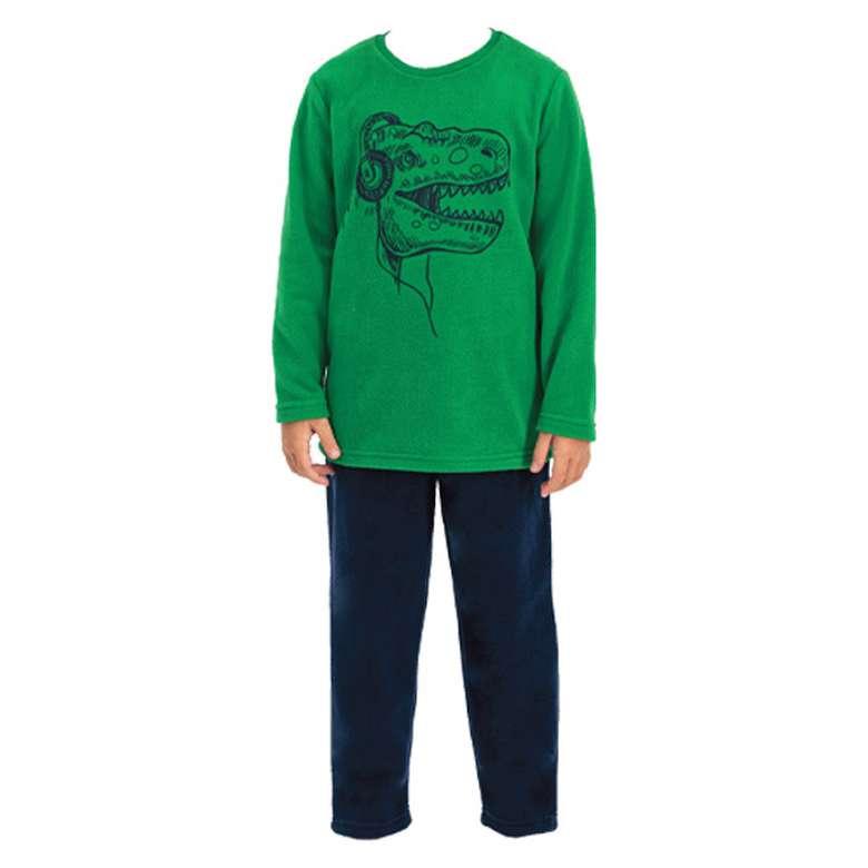 Çocuk Polar Pijama Takımı - Yeşil, 9-10 Yaş