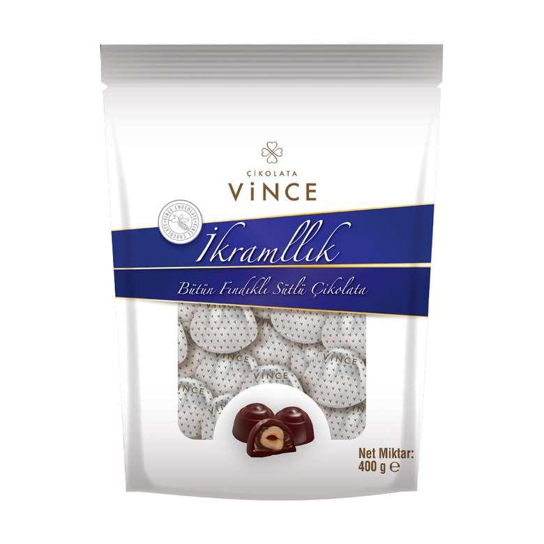 Vince İkramlık Bütün Fındıklı Sütlü Çikolata  400 G