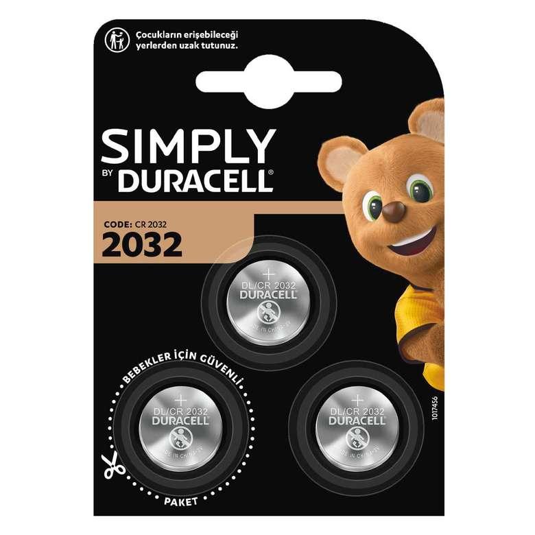 Duracell Simply 2032 Düğme Pil 3'Lü