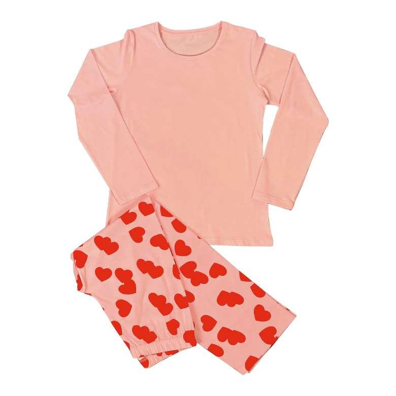 Kız/Erkek Çocuk Uzun Kol Pijama - Pembe, 5-6