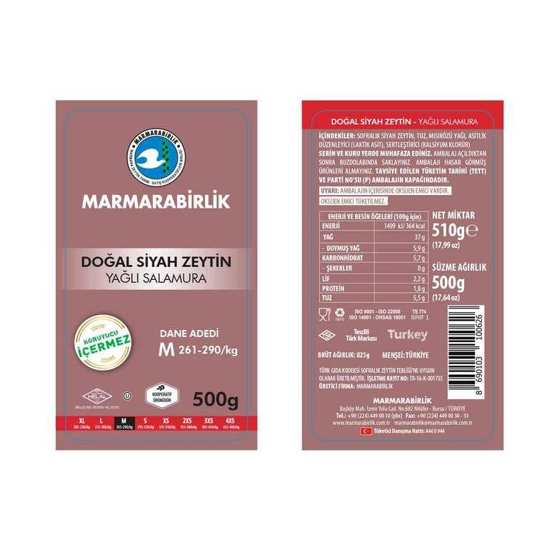Marmarabirlik Siyah Salamura Zeytin M 500 Gr