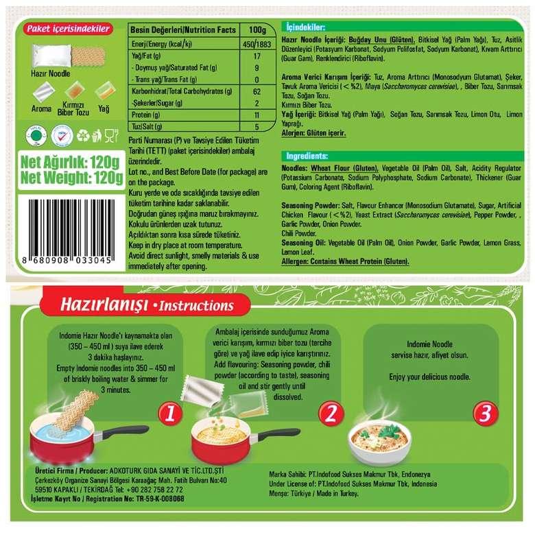 Indo Mie Noodle Paket Jumbo Sebzeli 120 G