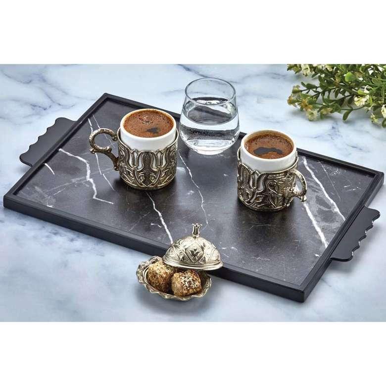 Ahşap Kesme Tahtası - Kahve Tepsisi - Mat Siyah