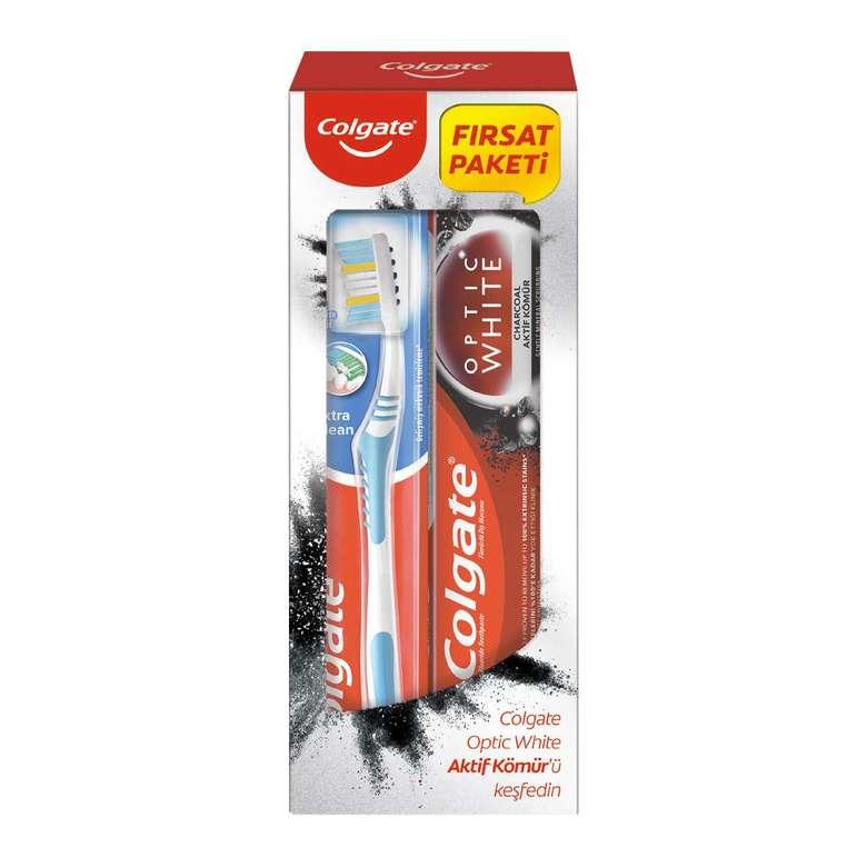 Colgate Optic White Diş Macunu + Extra Clean Diş Fırçası 50 Ml