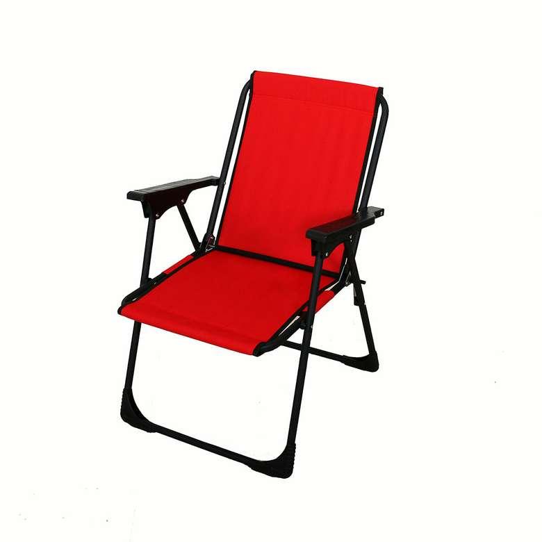 Lüks Katlanabilir Plaj/Piknik Sandalyesi - Kırmızı