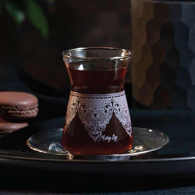 Çay Seti 12 Parça Yaldızlı - Gri