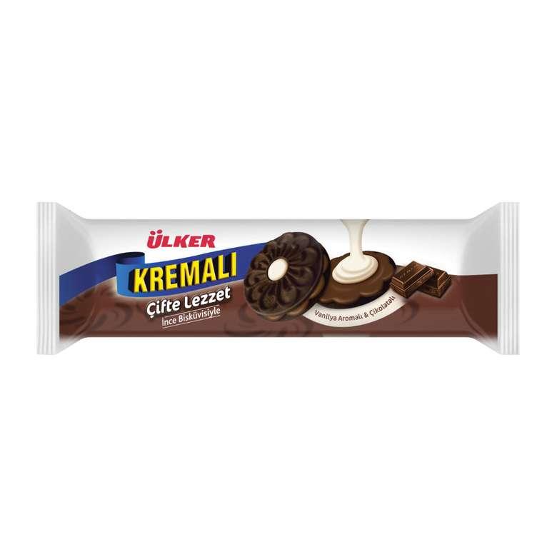 Ülker Kremalı Çifte Lezzet Vanilya Aromalı Çikolatalı Bisküvi 84 g