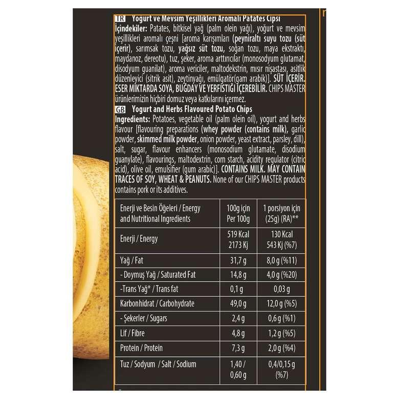 Chips Master Patates Cipsi Mevsim Yeşillikleri Çeşnili 110 G