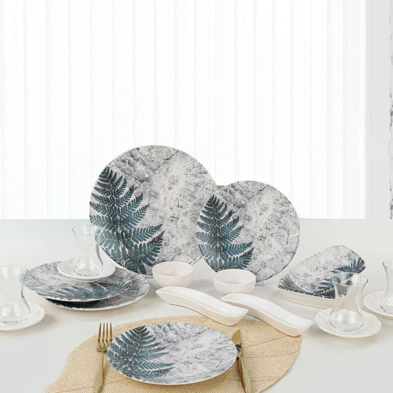 Keramika Kahvaltı Seti 19 Parça Çam Desenli