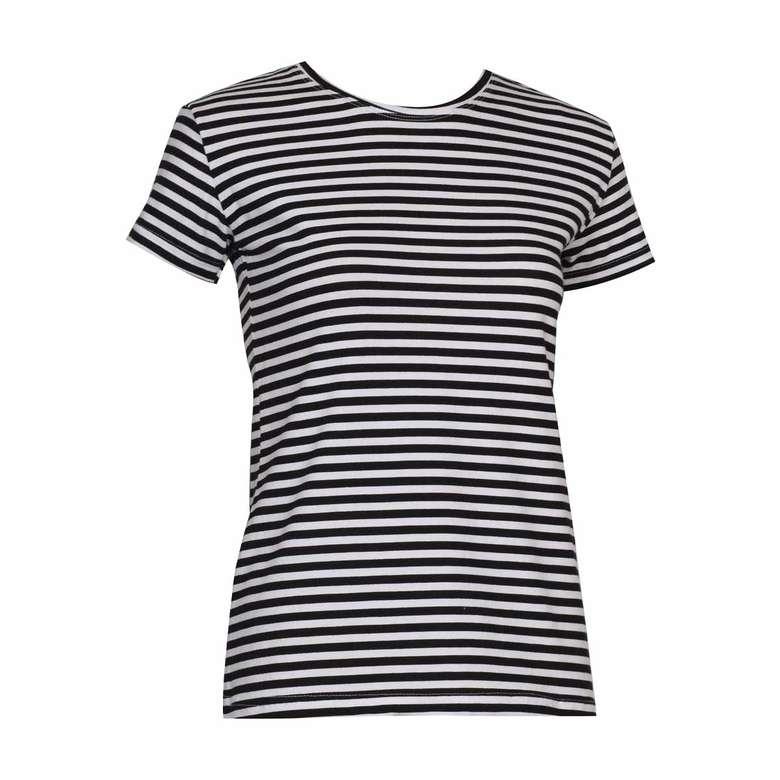 Bayan Basic T-Shirt Silk&Blue - Siyah-Beyaz, S