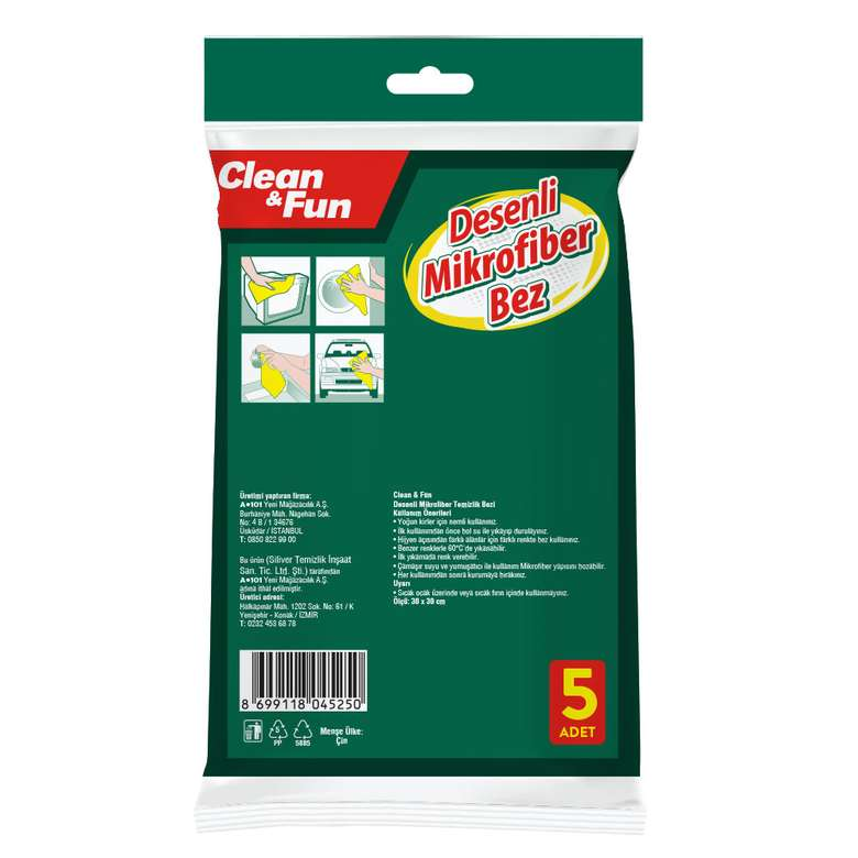 Clean&Fun Temizlik Bezi Mikrofiber 5'Li
