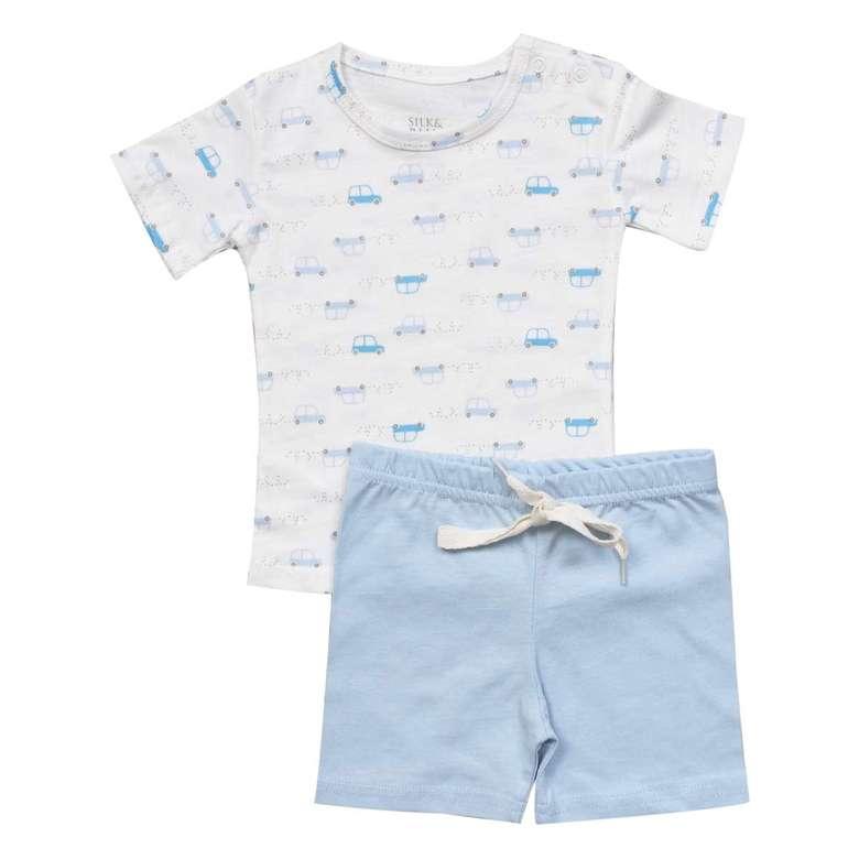 Erkek Bebek Tshirt-Şort Takım - Mavi, 6-9 Ay