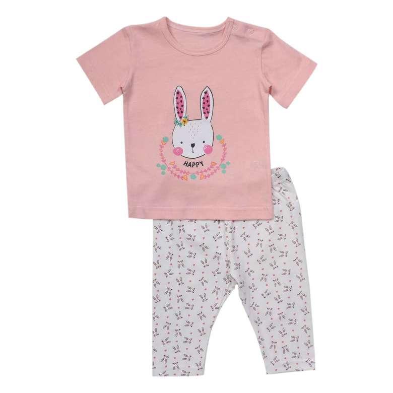 Kız Bebek Tshirt-Kapri Tayt Takım - Lila, 6-9 Ay